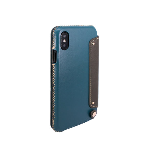 Leather Folio Case with Card Slot for iPhone X, Green blue/Dark green