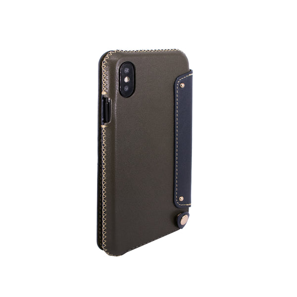 Leather Folio Case with Card Slot for iPhone X, Dark green/Navy