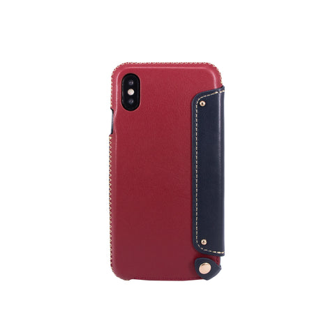 Leather Folio Case with Card Slot for iPhone X, Raisin/Navy