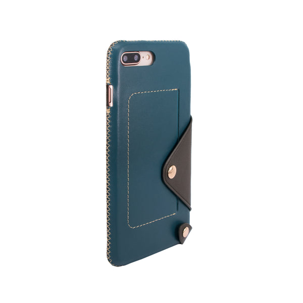 Leather pocket case for iPhone 7 Plus / iPhone 8 Plus, Green blue/Dark green