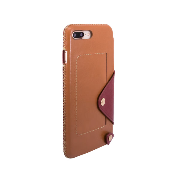 Leather pocket case for iPhone 7 Plus / iPhone 8 Plus, Brown/Raisin