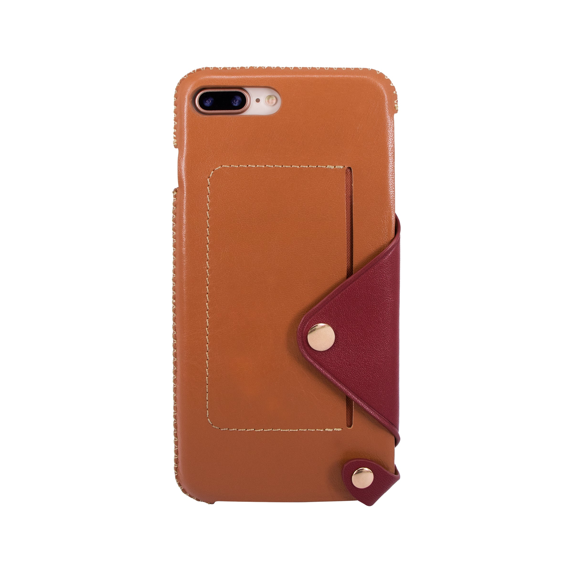 new concept c0f16 cee87 Leather pocket case for iPhone 7 Plus / iPhone 8 Plus, Brown/Raisin
