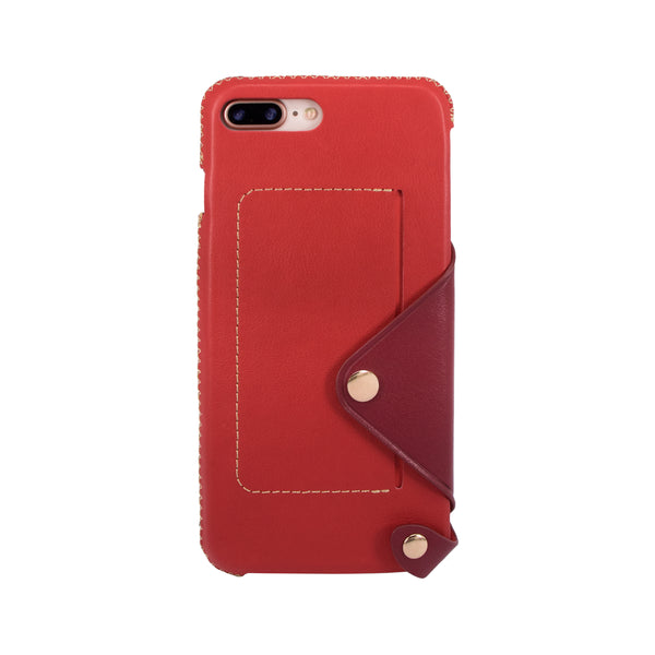Leather pocket case for iPhone 7 Plus / iPhone 8 Plus, Red/Raisin