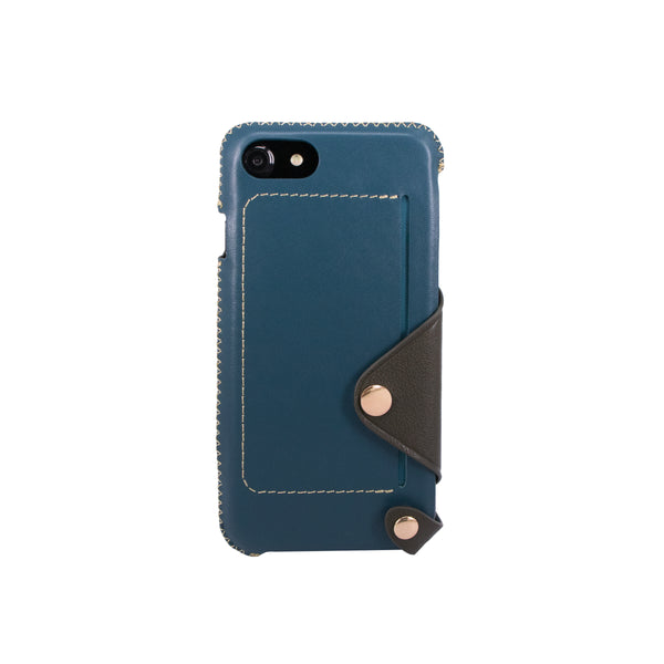 Leather pocket case for iPhone 7 / iPhone 8, Green blue/Dark green