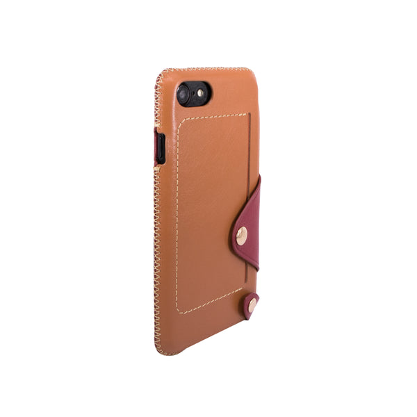 Leather pocket case for iPhone 7 / iPhone 8, Brown/Raisin
