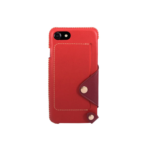 Leather pocket case for iPhone 7 / iPhone 8, Red/Raisin