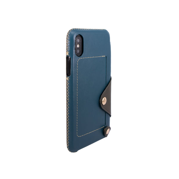 Leather pocket case for iPhone X, Green blue/Dark green