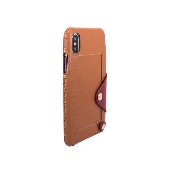 Leather pocket case for iPhone X, Brown/Raisin