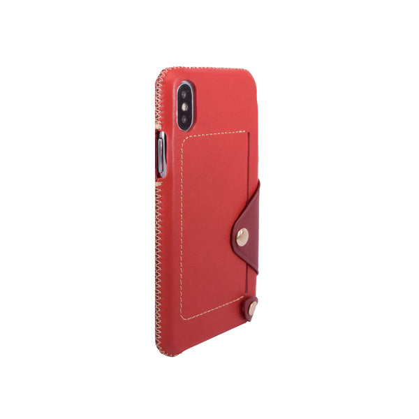 Leather pocket case for iPhone X, Red/Raisin