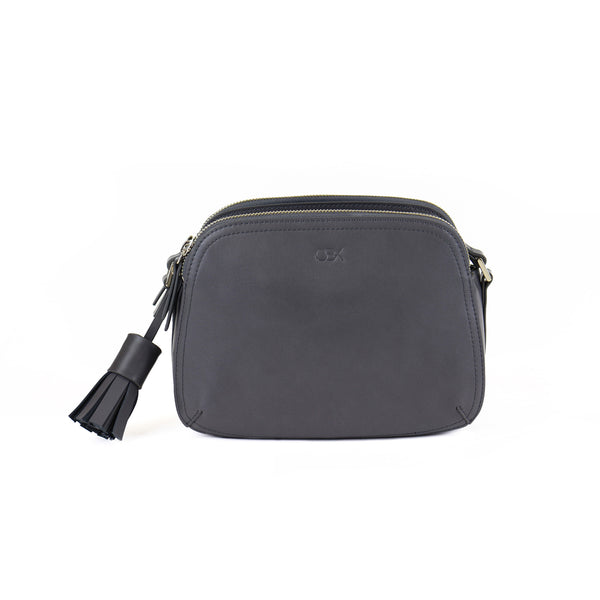 Faux Leather Rounded Shoulder Bag, Grey