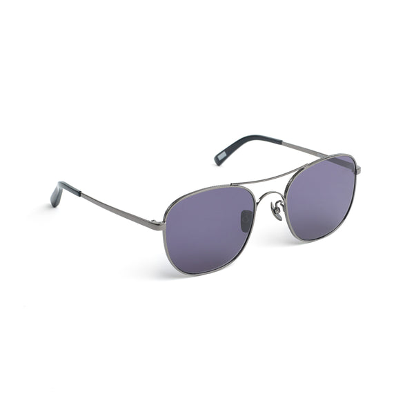 Square Aviator-style Sunglasses, Dark Noir