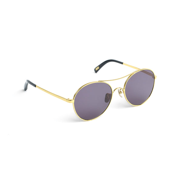 Rounded Aviator-style Sunglasses, Gold Noir