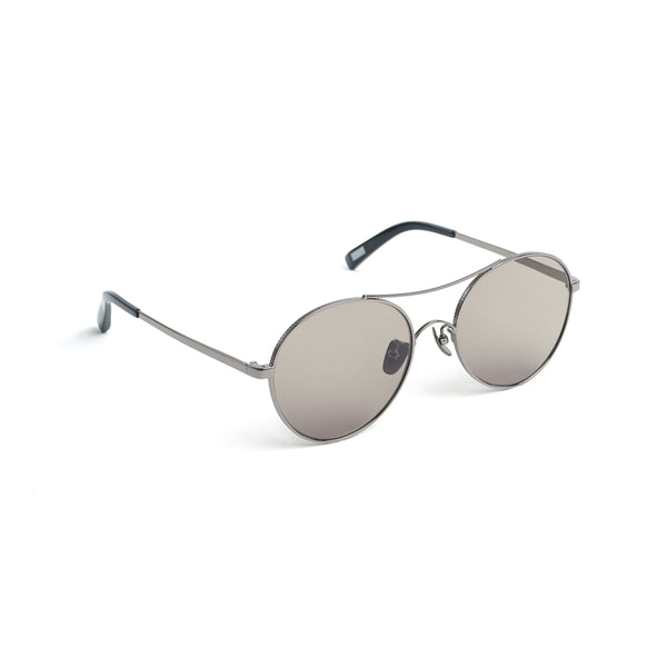 Rounded Aviator-style Sunglasses, Dark Olive