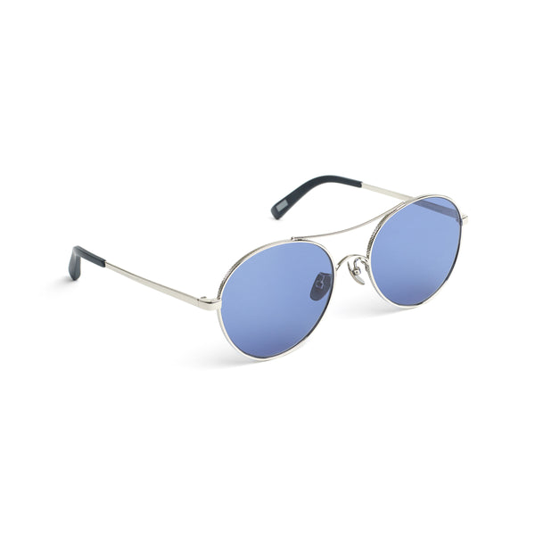 Rounded Aviator-style Sunglasses, Silver Azure