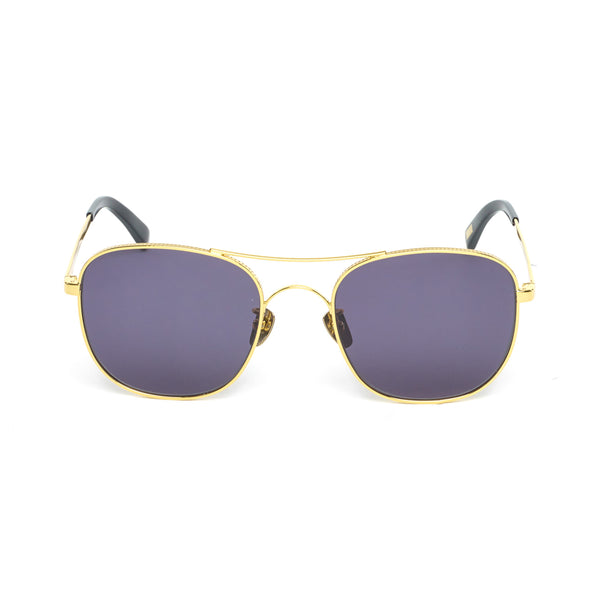 Square Aviator-style Sunglasses, Gold Noir