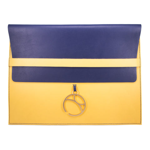 "10"" Tablet sleeve with charm, Blue / Yellow"