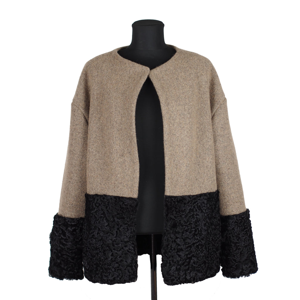 ONE OF A KIND BEIGE WOOL / FUR JACKET - CHRISTINA FISCHER