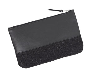 BOUCLE AND LEATHER CLUTCH - CHRISTINA FISCHER