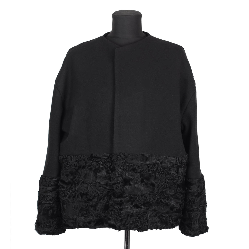 ONE OF A KIND BLACK WOOL / FUR JACKET - CHRISTINA FISCHER