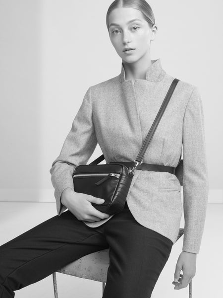 SUSTAINABLE FASHION MADE FROM RECYCLED LEATHER CROSS BODY BOX BAG - CHRISTINA FISCHER