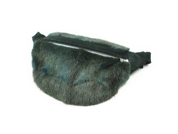 ONE OF A KIND GREEN FUR BUM BAG