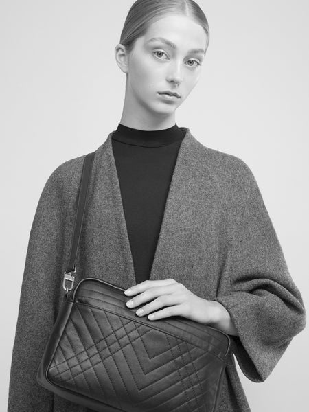 SUSTAINABLE FASHION MADE FROM RECYCLED LEATHER CROSS BODY QUILTED BOX BAG - CHRISTINA FISCHER