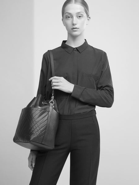 SUSTAINABLE FASHION MADE FROM RECYCLED LEATHER QUILTED BUCKET BAG - CHRISTINA FISCHER