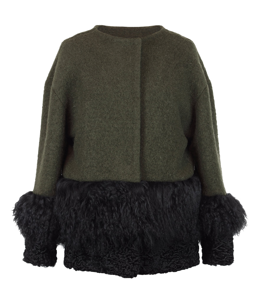 ONE OF A KIND OLIVE GREEN WOOL / FUR JACKET - CHRISTINA FISCHER