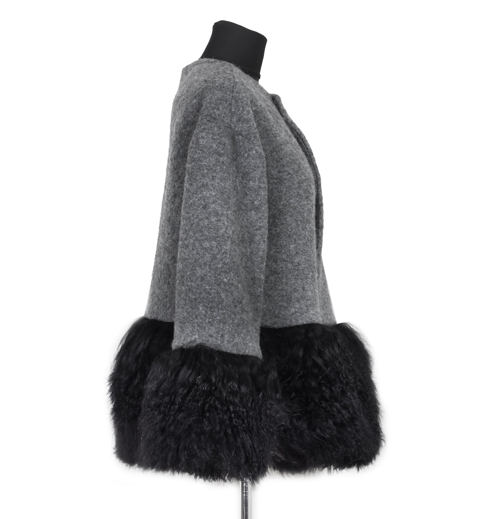 ONE OF A KIND GREY WOOL / FUR JACKET - CHRISTINA FISCHER