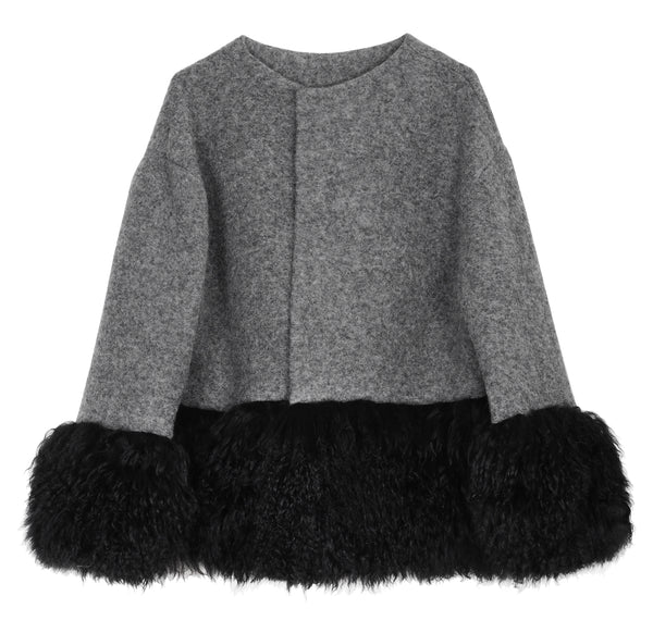 ONE OF A KIND GREY WOOL / FUR JACKET