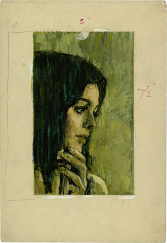 Pino Dell'Orco, Woman's Portrait on Green, c.1960