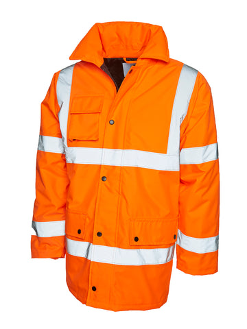 Uneek Hi Viz Road Safety Anorak - Orange/Yellow
