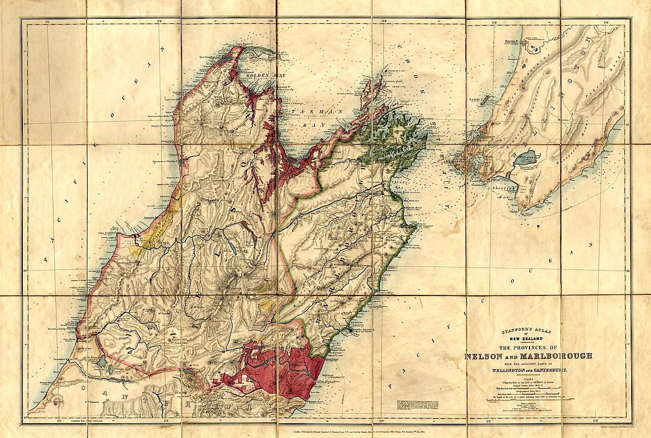 Detailed Map Of New Zealand.Reproduction Of A 1864 Map Of Marlborough And Canterbury New Zealand By Edward Stanford