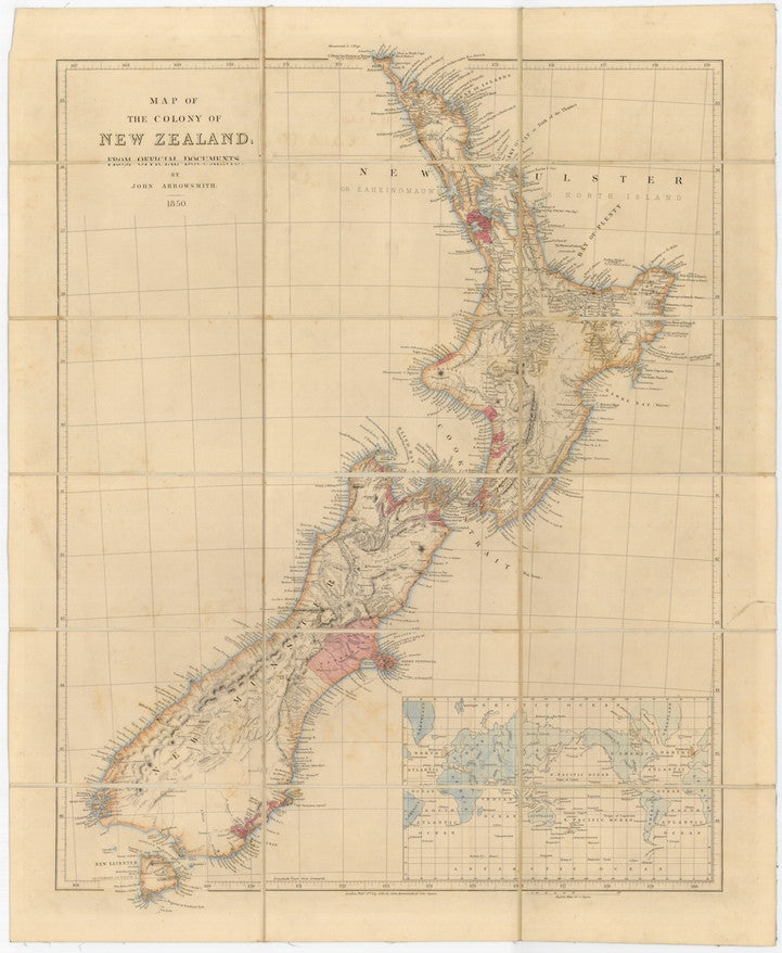 Reproduction of a 1850 map of New Zealand by John Arrowsmith