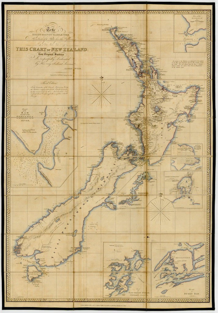 Reproduction of a 1843 map of New Zealand by James Wyld