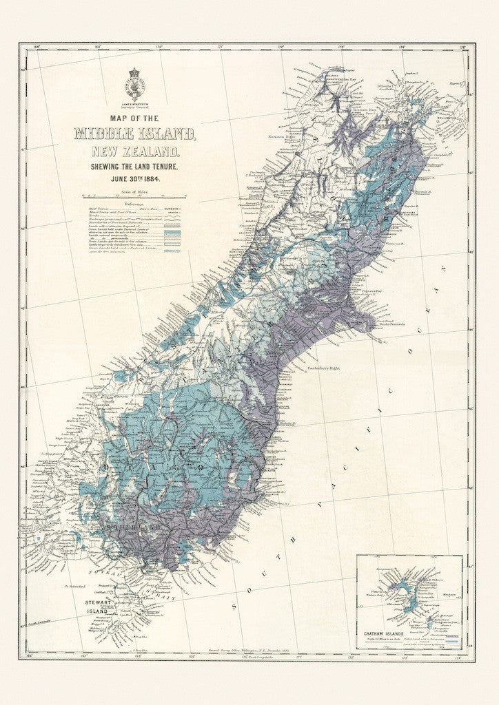 South Island Map Of New Zealand.Reproduction Of A Map Of The South Island Of New Zealand 1884