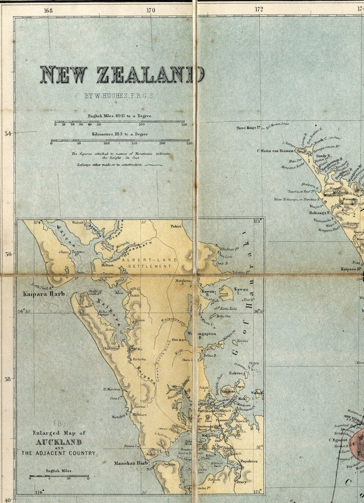 Reproduction of a map of New Zealand by W. Hughes F.R.G.S.