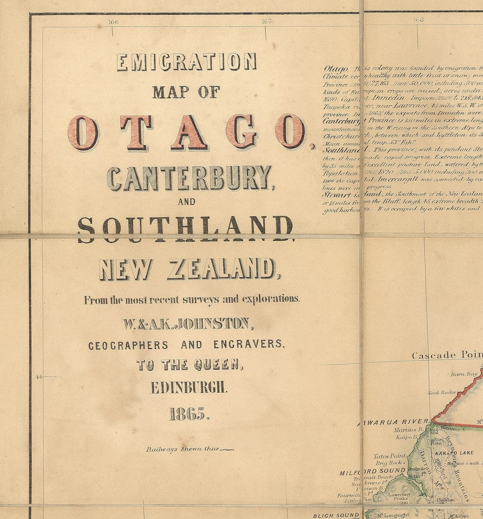 Reproduction of a 1865 map of  Otago, Canterbury and Southland