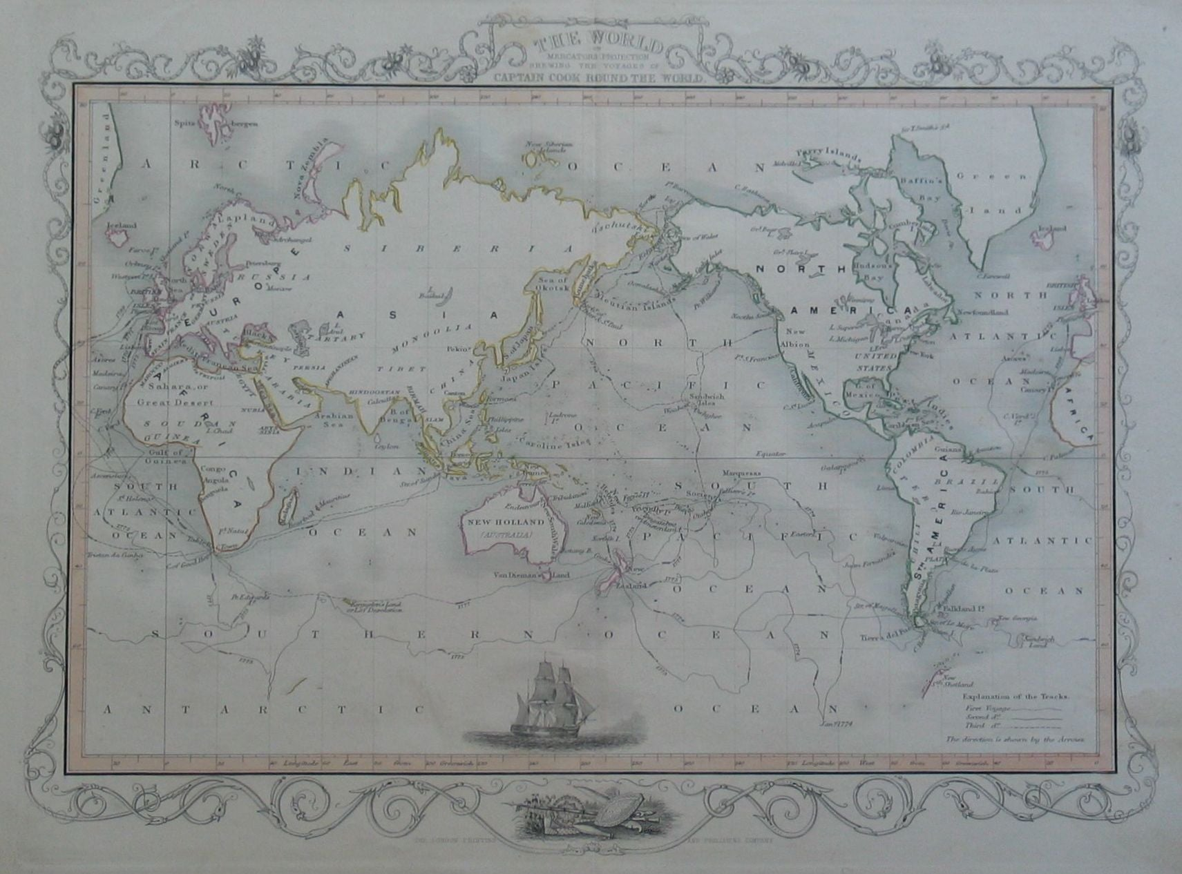 World Map showing Cook's Voyages
