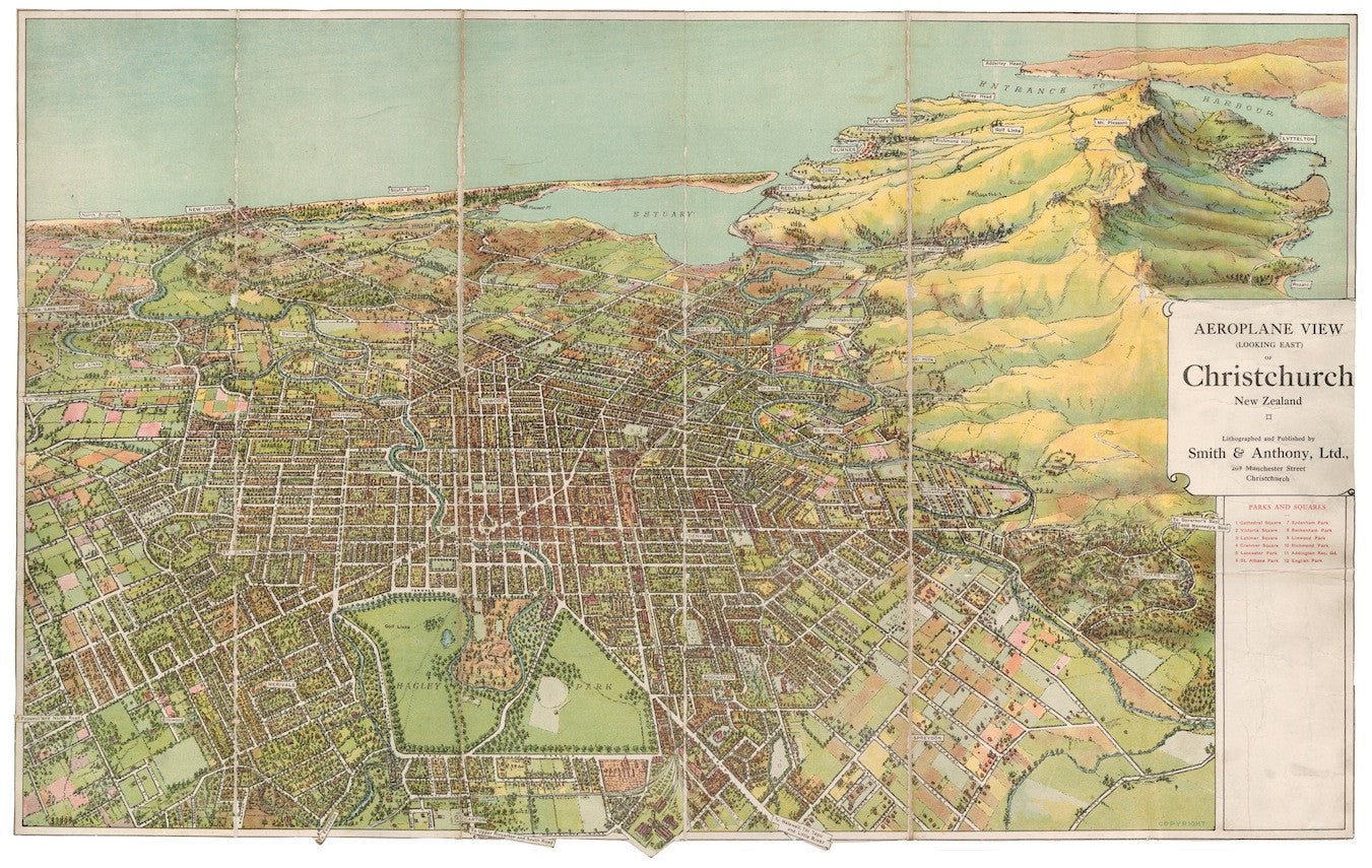 Aeroplane View (from the East) of Christchurch, New Zealand (Reproduction)