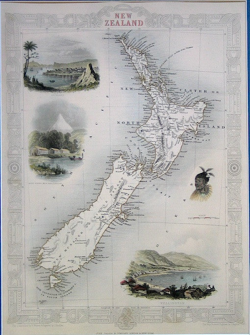 1851 Map of New Zealand (Hand-coloured Reproduction)