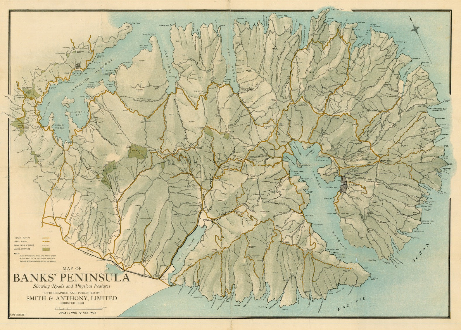 Map of Banks Peninsula showing Roads and Physical Features (Reproduction)