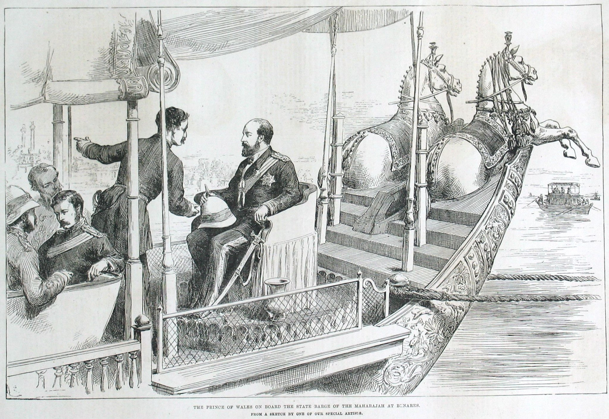 The Prince of Wales on board the state barge of the Maharajah at Benares.