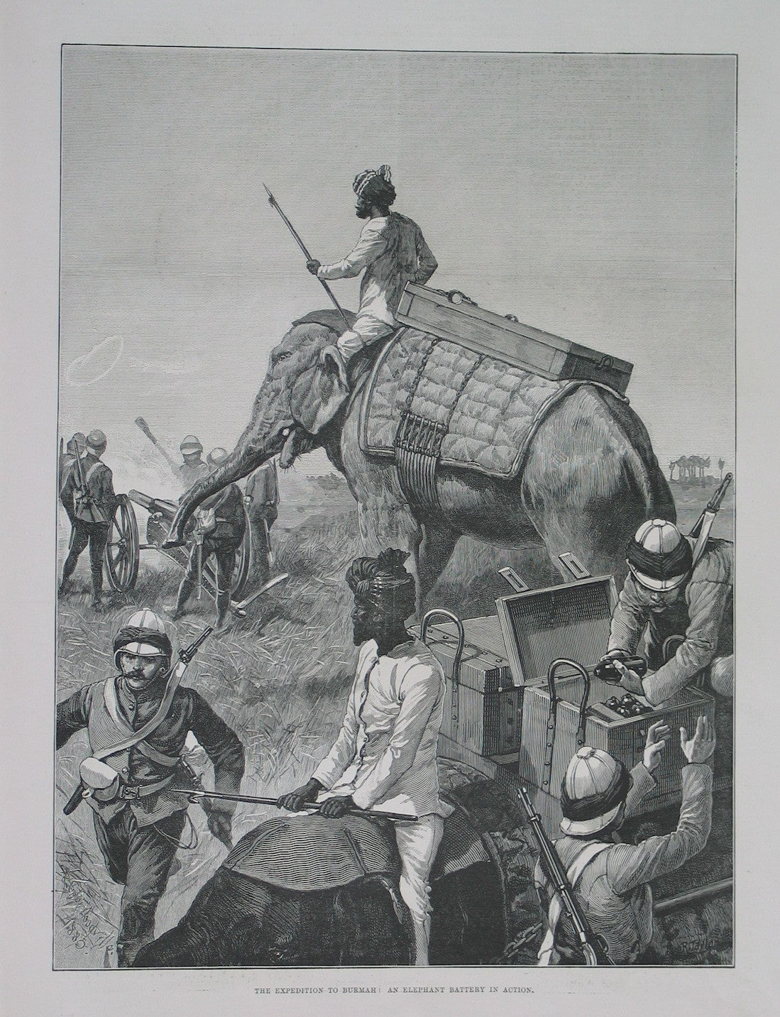 The Expedition to Burmah(sic) : An elephant battery in action.