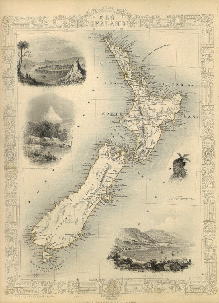 1851 Map of New Zealand (Reproduction)