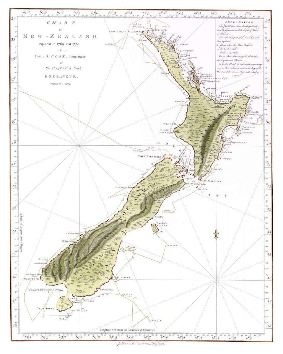 1772 Cook Chart of New Zealand (Hand-coloured Reproduction)