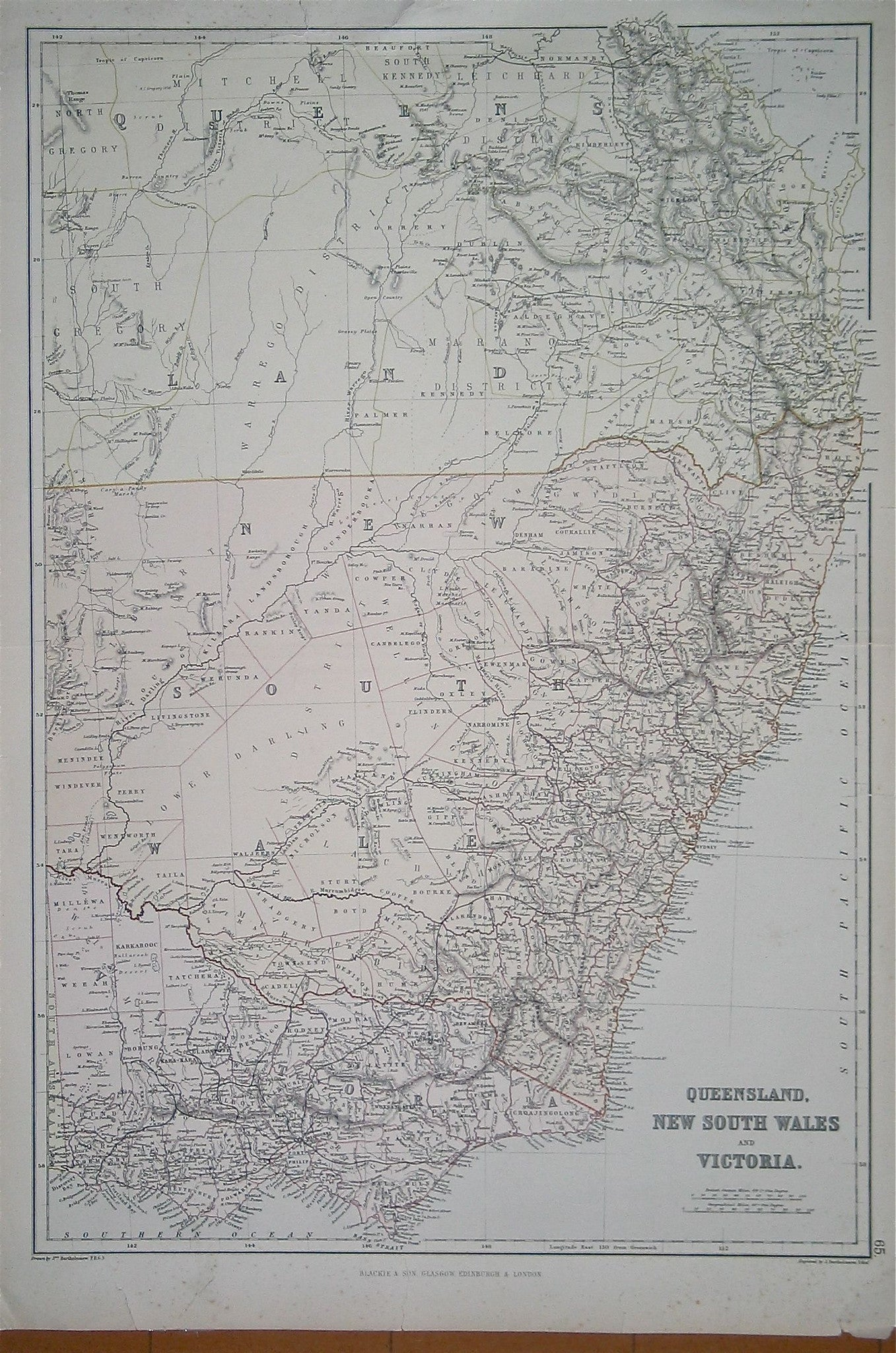 Map of Queensland, New South Wales and Victoria