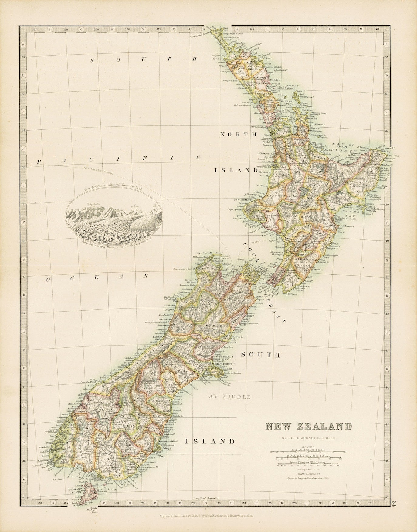 1893 Map of New Zealand (Reproduction)