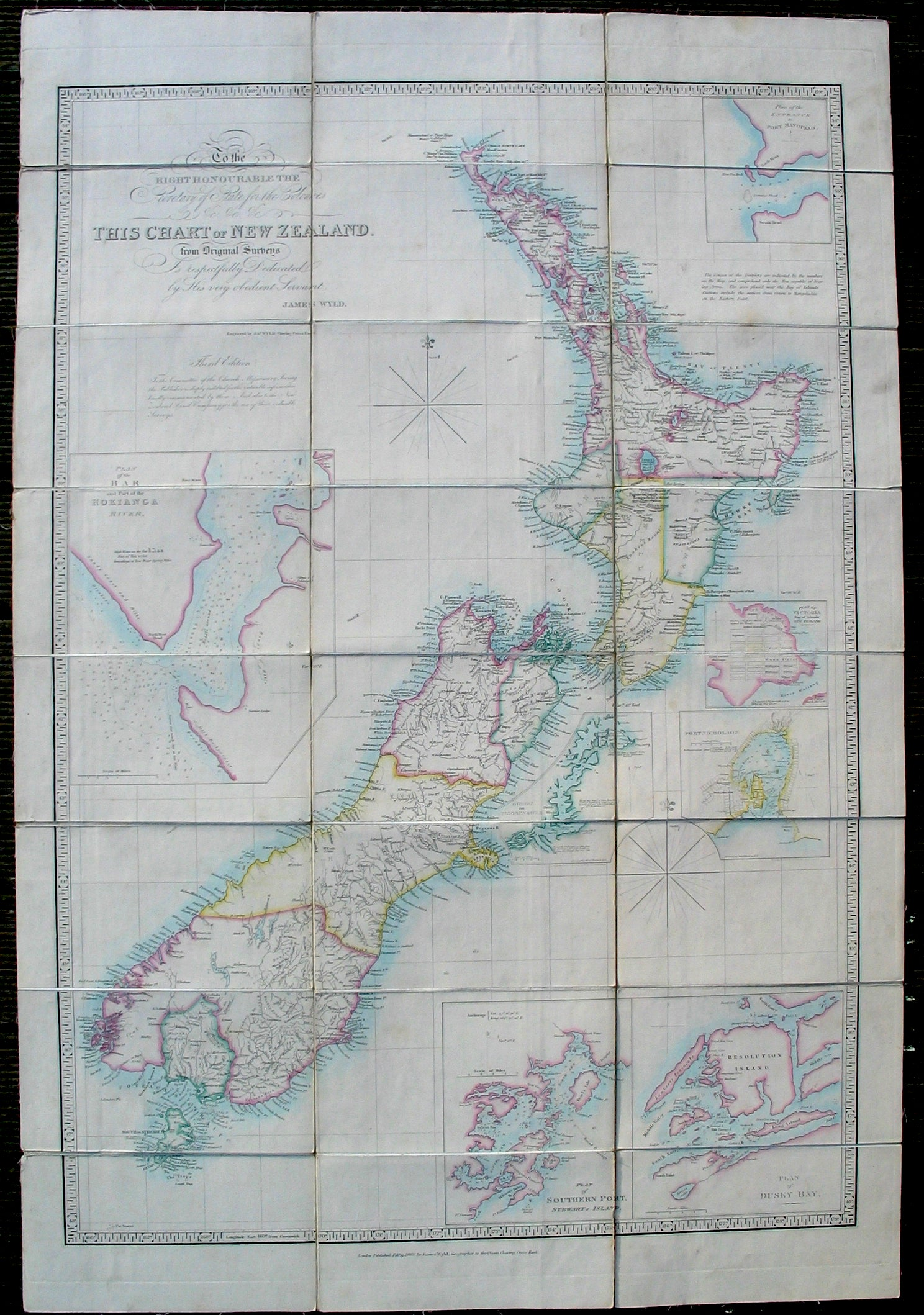 Folding emigration map of New Zealand by James Wyld