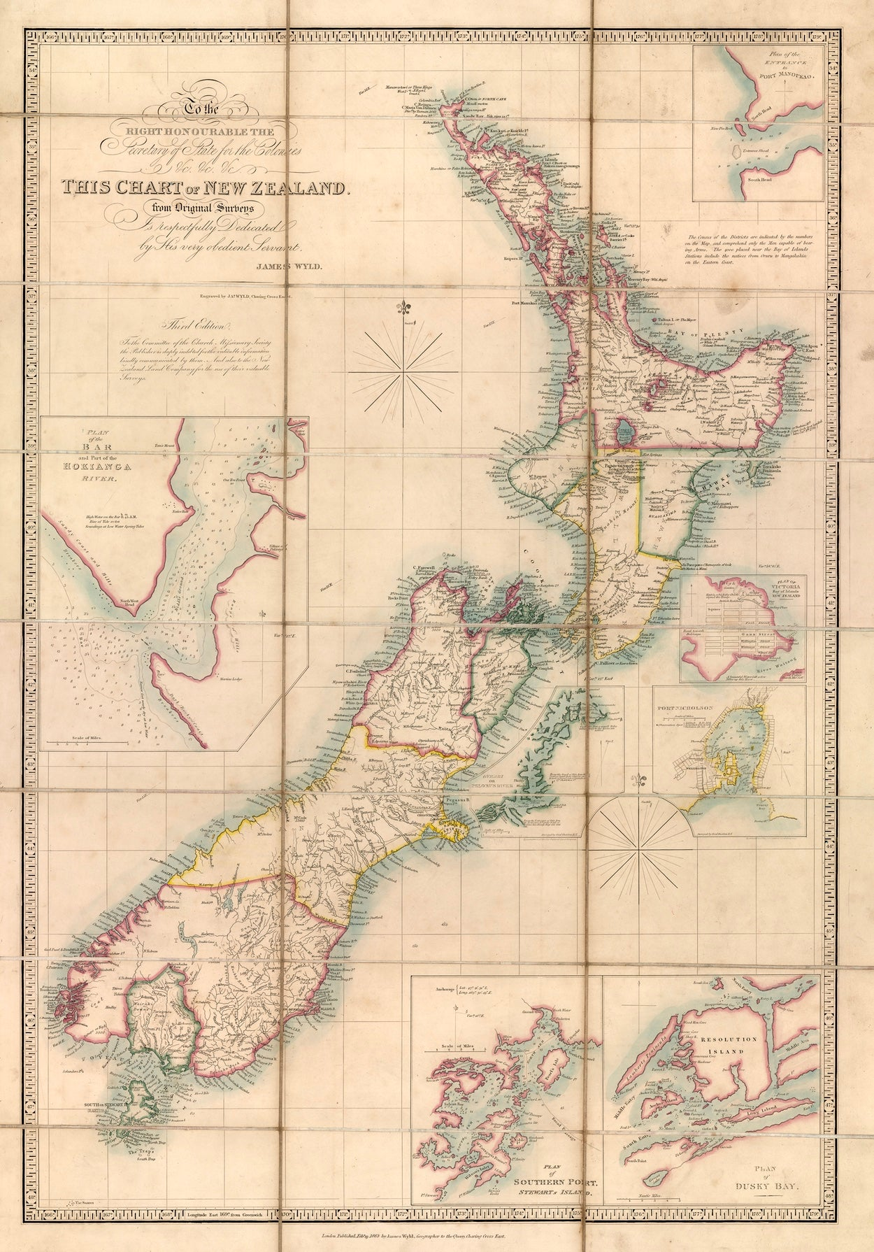 1863 Wyld Map of New Zealand